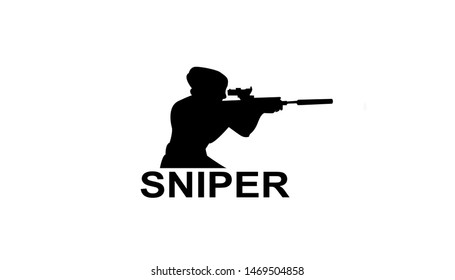 Sniper emblem for sports teams. Sniper club labels and design elements. Logo shoot.