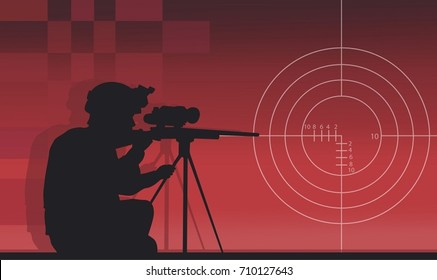 A sniper with a gun on a red background
