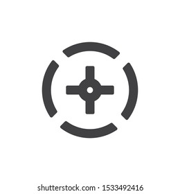 Sniper gun target vector icon. filled flat sign for mobile concept and web design. Crosshair aim glyph icon. Symbol, logo illustration. Vector graphics