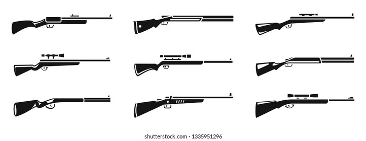 Sniper hunting rifle icons set. Simple set of sniper hunting rifle vector icons for web design on white background