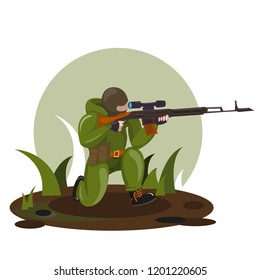 sniper man with a rifle in his hands. sitting on his knee. Color - green. Vector.
