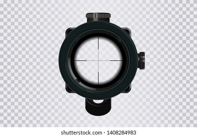 Sniper Optical sight. 3d vector model. Gamedev design. GUI elemennt military and weapon. Sniper scope crosshairs in realistic style. Vector illustration