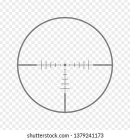 Sniper rifle aim isolated on transparent background. Crosshair target choose destination icon. Aim shoot focus cursor. Bullseye mark targeting. Game aiming sight dot pointer. Vector illustration