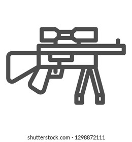 Sniper rifle line icon. Firearm vector illustration isolated on white. Shotgun outline style design, designed for web and app. Eps 10