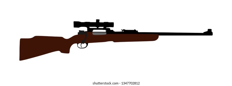 Sniper rifle vector illustration isolated on white background. Superior deadly weapon on long distance. Rifle with optic for hunting. Elegant trophy weapons safari gun. Military and police armament.