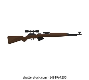Sniper rifle. Vector illustration on a white background.
