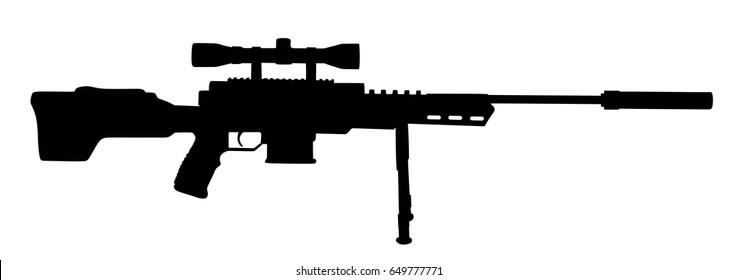 Sniper rifle vector silhouette illustration isolated on white background.