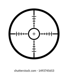 Sniper scope cross. Rifle optical sight isolated on white background, vector aim scoping symbol, weapon aiming target. vector icon