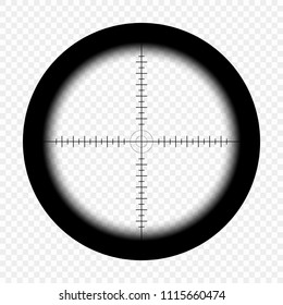 Sniper scope with measurement marks on an isolated transparent background. View through the sight of a hunter rifle. Optical vector sight template.