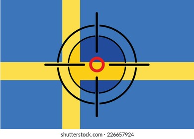 A Sniper Scope on the flag of Sweden