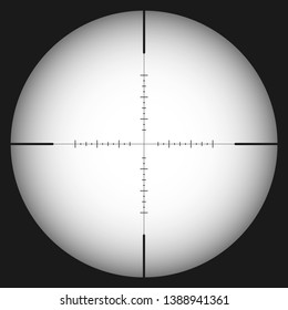 Sniper scope. Sniper rifle sight. Scope template with scale. Vector illustration.