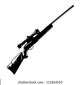 Sniper scope rifle vector black isolated on white background - vector illustration image