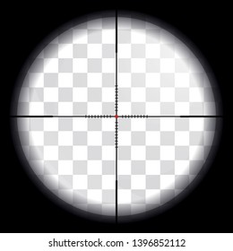 Sniper scope. View through crosshair. Vector illustration. Realistic transparent lens with glares and optical refraction. Template for shooters or concept for war games. Point of sight in the center.