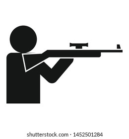 Sniper shooter icon. Simple illustration of sniper shooter vector icon for web design isolated on white background