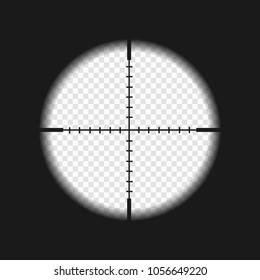 sniper sight with measurement marks. rifler scope template on transparent background