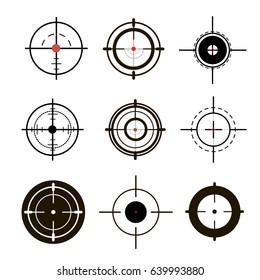 Sniper sight, symbol. Crosshair, target set of icons. Vector illustration