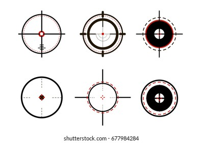 Sniper sight, symbol. Crosshair, target set of icons. Vector illustration