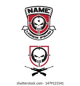Sniper Skull logo set. vector emblem. the texts are in separated layer