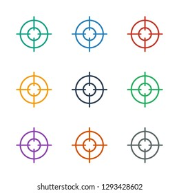 sniper target icon white background. Editable outline sniper target icon from war. Trendy sniper target icon for web and mobile.