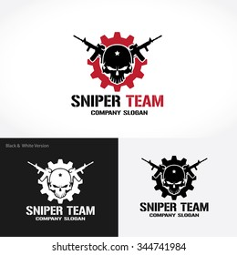 Sniper Team Logo,Skull Logo,rock,game,gamer,wing logo,Vector logo template