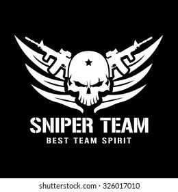Sniper Team Skull Games Logo template