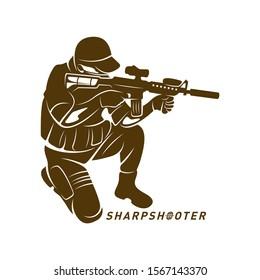 Sniper vector logo design concept style, Sharpshooter Style Concept logo Template, emblem and tshirt printing. sniper illustration for sport team.