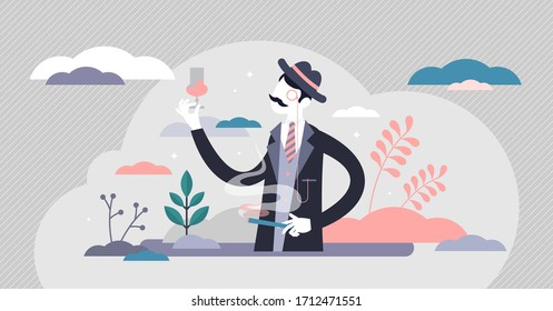 Snobbery vector illustration. Snob personality flat tiny persons concept. Rich social group behavior characteristics with good manners, clothing and luxury lifestyle. Status importance for human worth