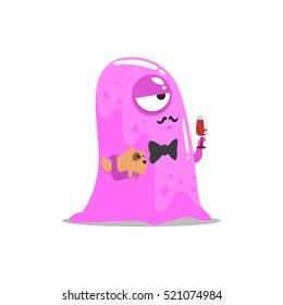 Snobbish Pink Blob Jelly Moster With Moustache And Pet Dog Drinking Wine Partying Hard As A Guest At Glamorous Posh Party Vector Illustration