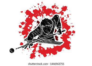 Snooker player action cartoon graphic vector