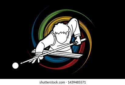 Snooker sport action cartoon graphic vector