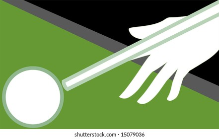 snooker stick and ball