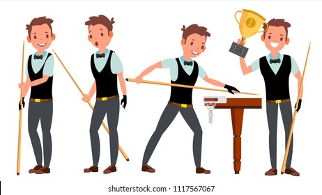 Snooker Young Man Player Vector. Man. Player Silhouettes. Competition Event. Billiard. Flat Athlete Cartoon Illustration