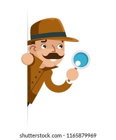 Snoop detective magnifying glass look peeking out of corner cartoon flat design vector illustration