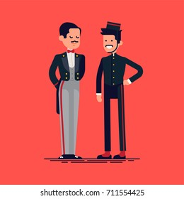 Snooty hotel concierge and friendly porter. Cool vector flat character design on hotel staff members in classic uniforms
