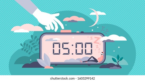 Snooze vector illustration. Work or sleep postpone in flat tiny persons concept. Alarm timer with nap button on clock. Morning alert and business work cancellation lifestyle as lazy employee routine.