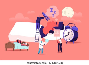 Snore Concept. Tiny Characters Sleeping in Bed and Suffering of Snoring, Angry Awake Man Listening Night Snoring of Wife, Sleep Apnea Syndrome, Medical Treatment. Cartoon People Vector Illustration