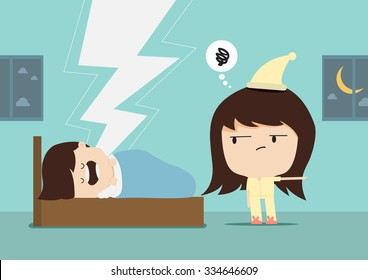 Snore man and woman angry for a sound of snoring