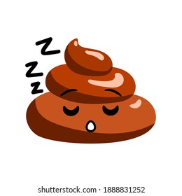 Snoring shit or turd emoji vector icon with sleepy face and ZZZZ text, isolated illustration in flat cartoon and doodle style.