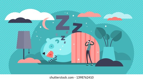 Snoring vector illustration. Flat tiny loud sleeping noise persons concept. Nasal respiratory problem and relaxation disorder. Abstract disturbing and annoying wheezing. Funny asleep somnology patient