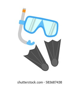 Snorkel, flippers isolated on white background. Blue diving mask, snorkel and pair of grey flippers. Fins, scuba mask and tube. Diving equipment objects. Underwater swimming. Vector