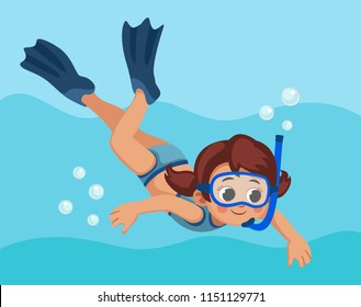 snorkeling. little girl dives into sea with flippers and mask. child swims under water.  Cartoon vector illustration