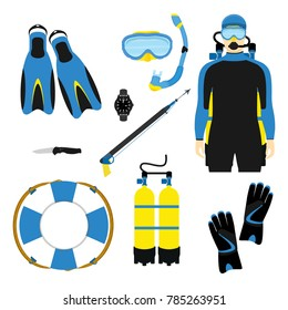 Snorkeling and scuba diving set of elements. Scuba-diving gear isolated. Diver wetsuit, scuba mask, snorkel, fins, regulator dive icons. Underwater activity diving equipment and accessories.