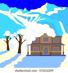 Snow avalanche in mountains covered cottage roof and trees. Strong snowfall in winter. Natural disaster realistic vector illustration. Snowslide or snowslip, rapid flow of snow down sloping surface