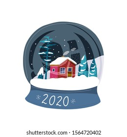 Snow ball. Christmas and new year , xmas magical sphere. Winter souvenir toy, snowglobe.