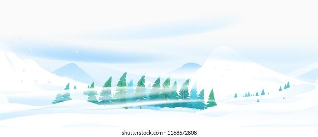 Snow Blizzard in Mountain