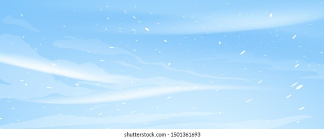 Snow blizzard nature texture illustration background, extreme weather conditions with cold wind and snow, winter wind with snow on blue sky background, extreme weather conditions