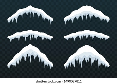 Snow cap ice set. Winter design snowy icicle roof. White blue snow template. Frame decoration isolated transparent background. 3D realistic cap. Christmas, New Year frozen texture Vector illustration