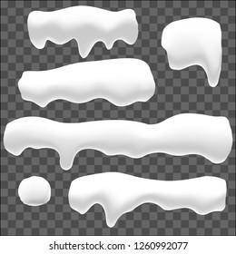 Snow caps, snowballs and snowdrifts set. Snow cap vector collection set. Cartoon template,  Winter decoration element.