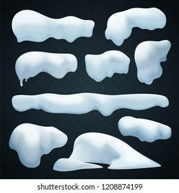 Snow caps vector set. Realistic Snowdrift. New Year winter ice elements collection.