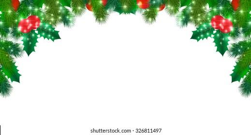Snow Christmas holly